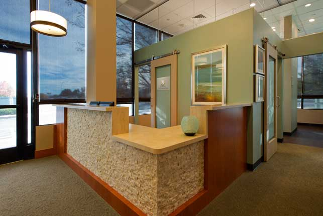 Endodontic office interior design and architecture for Dental office interior design